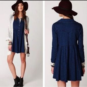 FREE PEOPLE DENIM KNIT SHIRT DRESS